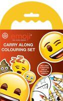 Emoji Carry Along Colouring Set Crayon Travel Pack Kids Party Bag Filler Gift