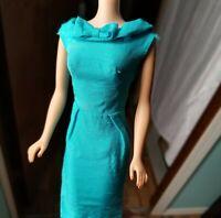 Barbie Turquoise Silk Sheath Dress Vintage *MINT*