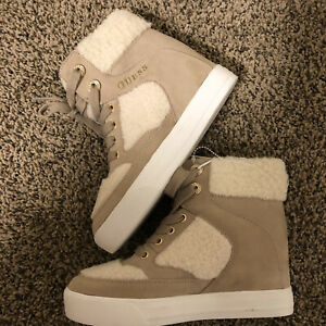 Guess Womens Suede Hightop Sneakers Size 5.5M Faux Fur Accent Beige/ Cream