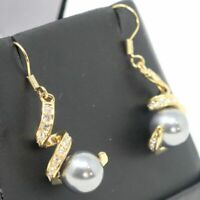 Large Round Grey Pearl Earrings Women Wedding Jewelry 14K Yellow Gold Plated