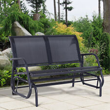 Outsunny Patio Garden Glider Bench 2 Person Double Swing Chair Rocker Deck Black