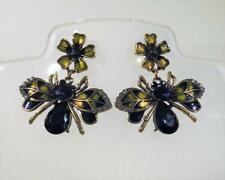 CG5738...GOLD PLATED & ENAMELLED BEE & FLOWER EARRINGS - FREE UK P&P