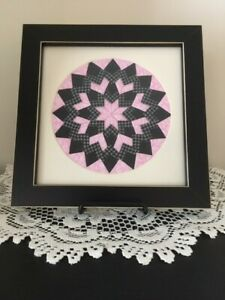 Handmade Quilt Picture, Pink/Black/Gray, Black Frame, New