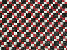 Unfinished Quilt Top- Double Four Patch, Black w Red 4-patch, approx 64.5 x 64.5