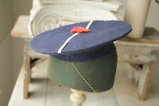 Antique French Fleet Navy Hat WWII blue military uniform 1930 1940 red pompom