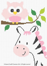 Crochet Patterns - OWL and ZEBRA SAFARI Graph/Chart BABY Girl Afghan Pattern