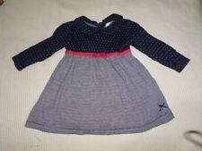 Jasper J Conran Girls Blue Polka Dot & Striped Long Sleeve Dress Size 3-6 Months