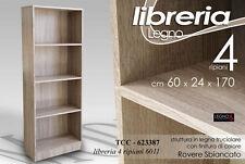 LIBRERIA IN LEGNO ROVERE SBIANCATO 4 RIPIANI  60X24X170 CM TCC 623387