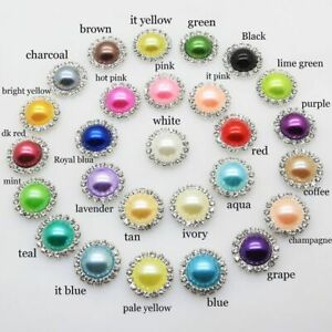 Metal Wedding Invitations Decorate Button Colored Pearls Rhinestone Hair Flowers