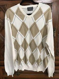 Lyle and Scott Sweater Combed Cotton XL Argyle Cream Beige Classic Black Golf