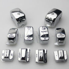 10x Chrome Carved Hand Control Switch Cover Button Caps for Harley Softail 96-13