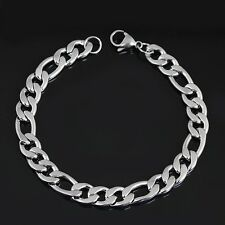 Fashion Mens Silver Stainless Steel Curb Link Chain Charm Bracelet Wristband Hot