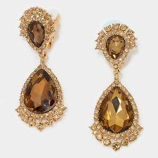 """2.75"""" gold topaz teardrop crystal rhinestone clip on earrings non pierced"""
