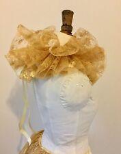 Gold lace circus neck ruff, pierette clown, Burlesque costume.