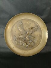 """Vintage Brass plated eagle metal plate craft dish 10.5"""" wide wall decor art"""
