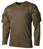 TACTICAL US ARMY  MILITARY LONG SLEEVE T-SHIRT COMBAT sleeve pockets OLIVE