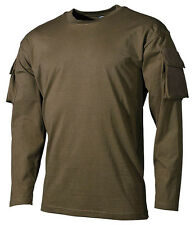 OLIVE TACTICAL US ARMY  MILITARY LONG SLEEVE T-SHIRT COMBAT sleeve pockets