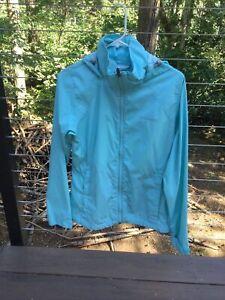 Columbia Hooded Windbreaker Rain Jacket Women's Large L Packable Green Nylon