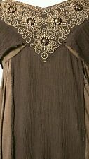 🌻 Cute Free People Beaded Embroidered Gauzy Sweetheart Dress Brown XS 2 S 4 6