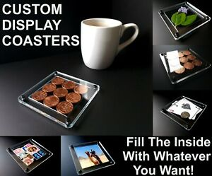FILL YOUR OWN Custom Coasters! Put Anything Inside! Coffee/Tea/Drink Cup/Mug Mat