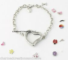 Reversible Crystal Heart Floating Charm Glass Memory Locket Bracelet