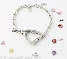 Reversible Crystal Heart Floating Charm Living Memory Locket Bracelet