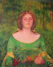 Pre Raphaelite Gathering Herbs, Beautiful woman in green Orig Oil by M Aycock