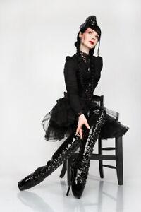 Lack Ballett High Heels Overknees, Stiefeletten Gr 36-46 schwarz,rot, pink weiss