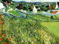 VINCENT VAN GOGH VINEYARDS WITH A VIEW OF AUVERS 1890 ART PAINTING PRINT 3018OMA