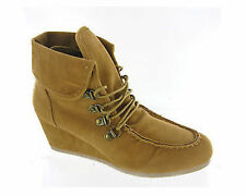 Lace Up Suede Wedge Ankle Women's Boots