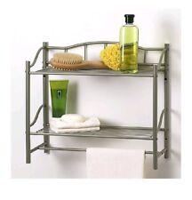 2 Tier Shelf Wall Organizer Towel Bar Holder Rack Wall Mounted Bathroom Storage.