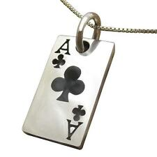 925 Sterling Silver Ace of Clubs Poker Casino Las Vegas Card Game Lucky Pendant