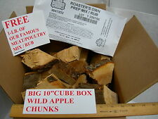 "Big 10"" Cube Box Wild Apple Wood Chunks Chips Bbq Smoker Grilling Restaurant Use"