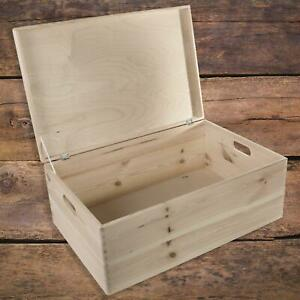 Extra Large Plain Wooden Hinged Lid Storage Box Chest Toy Trunk|59 x 39 x 23 cm
