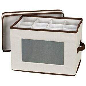 Natural 544 Stemware Storage Box with Lid and Handles | Champagne Glasses Canvas