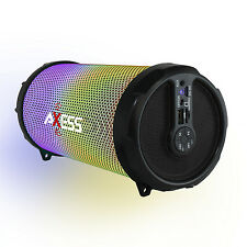 NEW Axess Bluetooth Rechargeable Cylinder Speaker Boom box W/ Color Changing LED