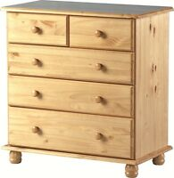 SOL SOLID ANTIQUE PINE 3 + 2 DRAWER CHEST OF DRAWERS -LOWEST PRICE FREE DELIVERY