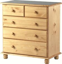 SOL SOLID ANTIQUE PINE 3 + 2 5 DRAWER CHEST OF DRAWERS - FREE DELIVERY