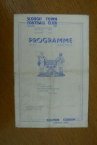 1953 SLOUGH TOWN V PEGASUS PROGRAMME . AMATEUR CUP 4th ROUND
