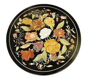 21 Inches Round Marble Inlay Coffee Table Top with Floral Pattern Center table