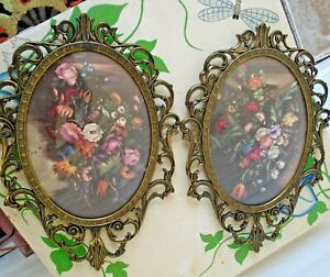 """Vintage Pair Made in Italy Floral Print Convex Oval Glass Ornate Metal Frame 10"""""""