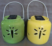 Solar Powered Lanterns Set of 2 Ceramic Green Yellow Dragonfly w/ Handles