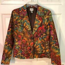 Chicos Brown Purple Orange Floral Peacock Metallic Lined Blazer Jacket Size 0