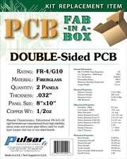 "2 Panels Pulsar Pro FX DOUBLE SIDED Copper Clad RIGID PCB FR4 0.032"" 8""x10"""