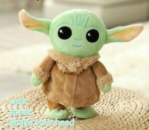 Disney Baby Yoda Star Wars Children Electric Stuffed Plush Toy walk  Talk