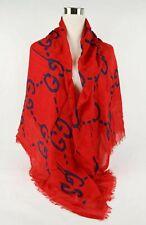 New Gucci Ghost Red Blue GG Modal Silk Large Scarf Shawl 449009 6568