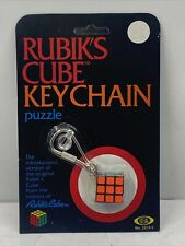 VINTAGE RUBIK'S CUBE KEYCHAIN PUZZLE MINI BY IDEAL MOC NEW SEALED 1982 Unpunched