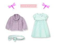 "Janie and Jack baby girl ""Petite Blooms""Dragonfly Dress/ Cardi 3pc Set 6-12 m"