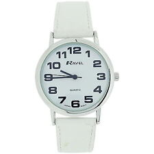 Ravel Ladies Jumbo Face Dial Coloured PU Strap Easy Read Watch Xmas Gift for Her White - R0105.13.4