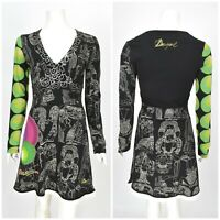 Womens Desigual V-Neck Long Sleeve Dress Multicolored Cotton Boho A-Line Size M